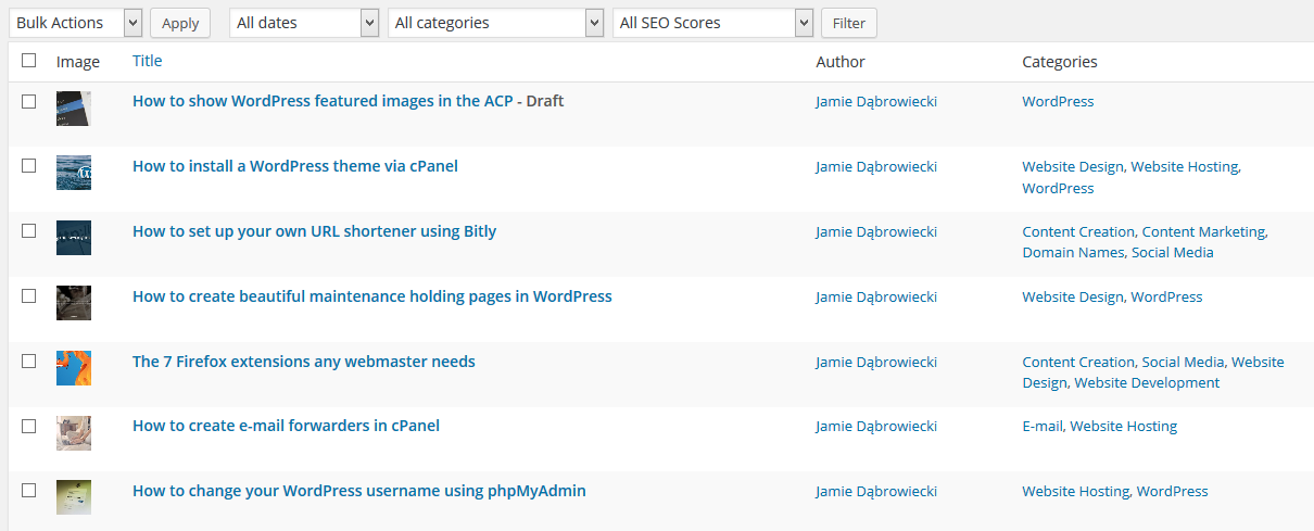 The plugin enables the user to show WordPress featured images in the ACP