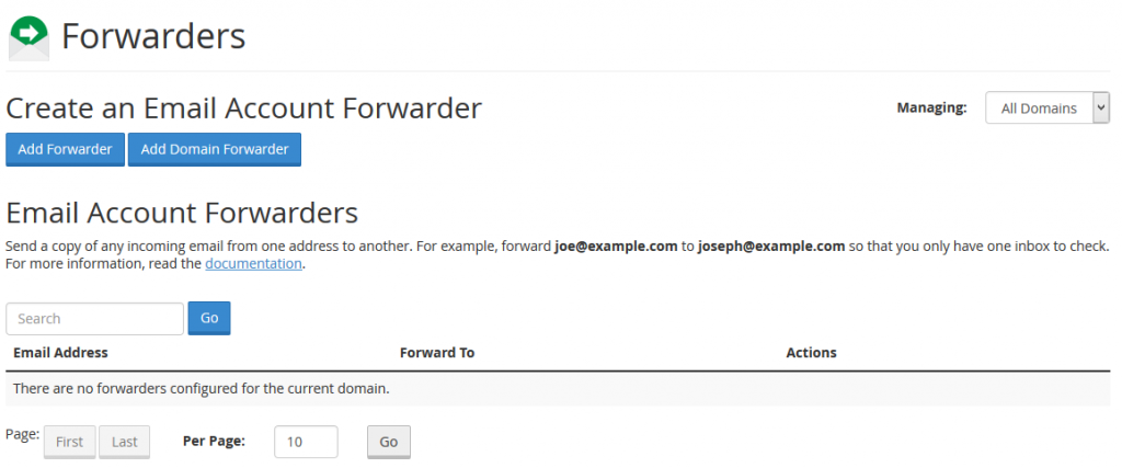 How to create e-mail forwarders in cPanel